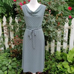 Talbots Sleeveless Knit Midi Dress Navy/Green EUC